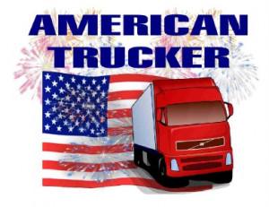 Custom Made T Shirt American Trucker Semi Truck Driver Flag Fireworks ...