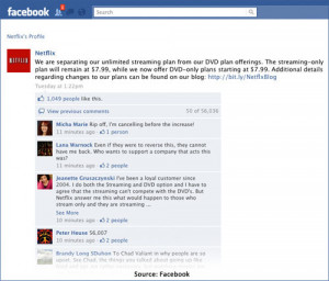 As of 7:31 a.m. EST today, the Netflix Facebook page had 55,843 ...