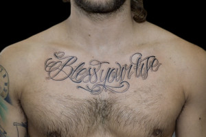 Script Chest Tattoos For Men