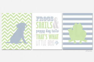 Frogs Snails Puppy Dog Tails Quote PRINT SET THREE by ofCarola, $43.00