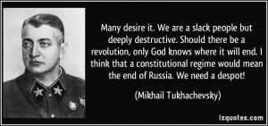 Many desire it. We are a slack people but deeply destructive. Should ...