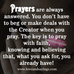 Prayers are always answered