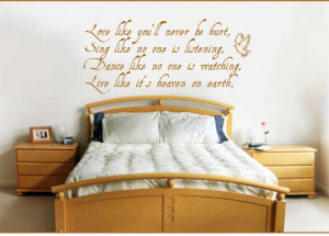 Quotation and Sayings on walls with light brown furniture