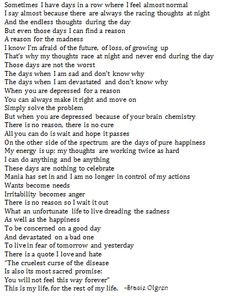 bipolar disorder quote about a bipolar life More