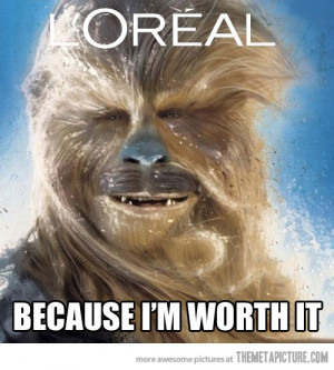 Funny photos funny chewbacca hair Loreal ad