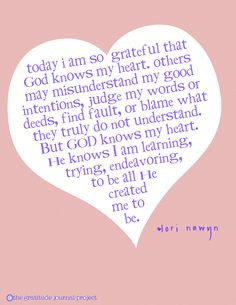 God knows my heart . . . More