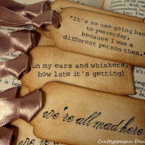 Alice in Wonderland Quote Gift Tags- 9 Luxury Stamped Tags in ...