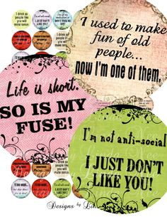 NEW Say it Like it is Sassy Quotes 2 inch by DesignsbyLindaNee, $3.95