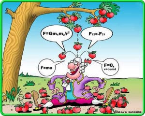 Funny Isaac Newton and apples