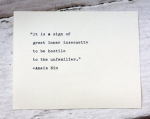 ANAIS NIN quote typed on a vintage typewriter ...
