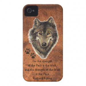 Watercolor Wolf Track Family Quote by Kipling iPhone 4 Case-Mate Cases