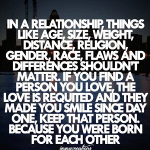 In A Relationship Things Like Age, Sixe, Weight, Distance, Religion ...