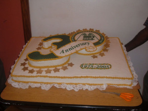two sheet cakes covered in sugerpaste. The #3 was carved out and a 12 ...