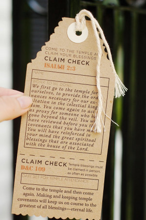 Temple Blessing Claim Check
