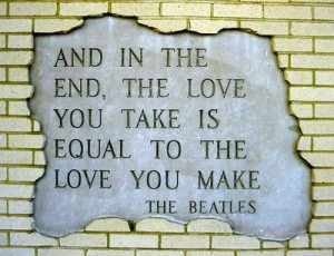 beatles, love, lyric, message, quote, the beatles, typography