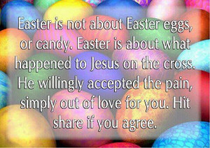 About Easter Eggs, Or Candy. Easter Is About What Happened To Jesus ...