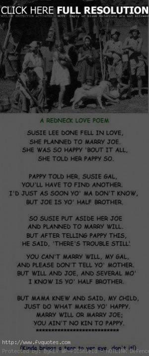 Redneck Love Poem Motivational Love Quotes
