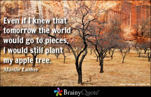 ... would go to pieces, I would still plant my apple tree. - Martin Luther