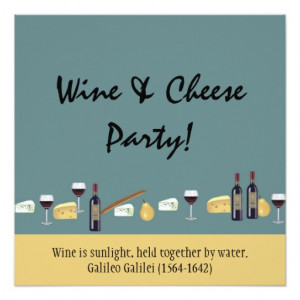 Fun Wine and Cheese Party-with Quote 5.25x5.25 Square Paper Invitation ...