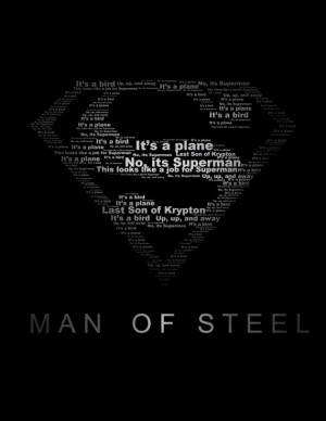 Superman Man of Steel Typography Print black and white 8.5x11