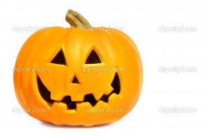 Pumpkin with halloween phrases on white - Stock Image