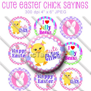 Cute Easter Sayings Bottle Cap Images Digital Collage 1 Inch Circles ...