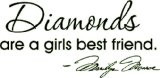 Marilyn Monroe Quote Diamonds are a girls best friend Vinyl Decal home ...