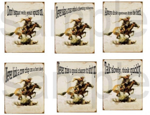 Vintage CowBoy Sayings...Embellishments...appr. 3x4 inches.... Digital ...