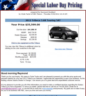 Sample Email templates - Vehicle price quotes