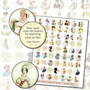 Jane Austen Quotes and Regency Era Fashion 1 inch 25.4mm circle ...