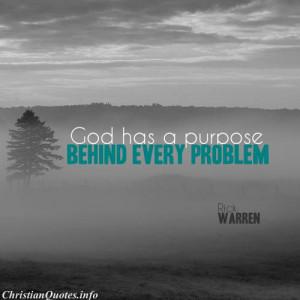 Rick Warren Quote - God has- a Purpose - fog in a field