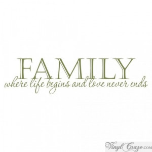 ... for -FAMILY where life begins and love never ends | Vinyl Wall Quote