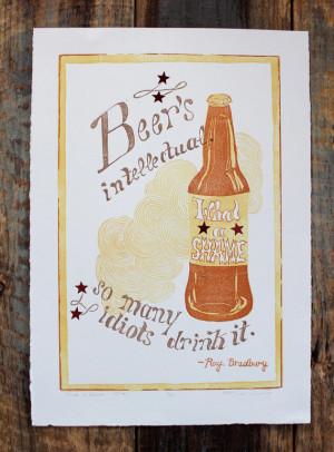 Ray Bradbury Quote - Bar Decor - Reduction Linocut Beer Print
