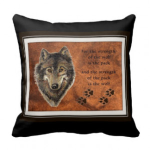 Watercolor Wolf and Family Pack Quote Throw Pillows