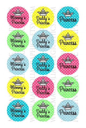 Bottle Cap Graphics Princess Sayings and Crown on Swiss Dots