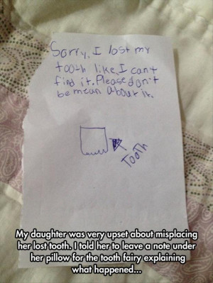 funny kids note to the toothfairy