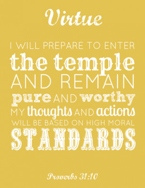 LDS Young Women Virtue printable