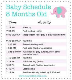 Sample feeding and sleeping baby schedule for 8 month old baby ...