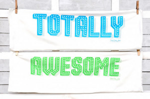 TOTALLY AWESOME: 80's Sayings, Tea Towel Set, Neon