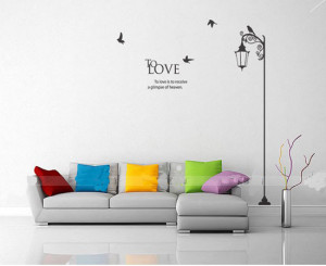 Quotes-Lettering-LOVE-Bird-Lamp-Corner-Home-Mural-Decor-Wall-Stickers ...