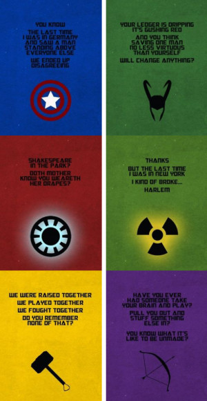 Some Avengers' quotes...