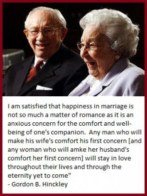Quote from President Hinckley on marriage.