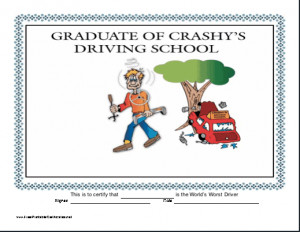 Funny Printable Certificates of Driving