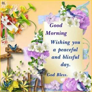 Good morning. ...God bless.
