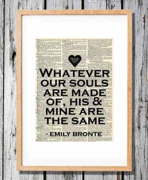 Emily Bronte - Wuthering Heights Quote- Art Print on Vintage Antique ...
