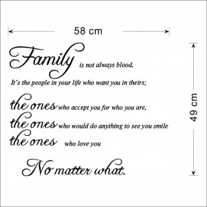 Family Is Not Always Blood Wall Stickers Quote Decal Removable Vinyl ...