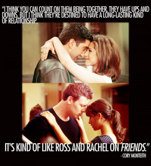 ... hudson rachel berry ross geller rachel green finchel glee otp quotes