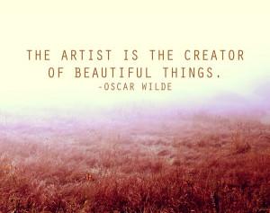 Oscar Wilde Artist Quote in a Peaceful Field Print Art Print