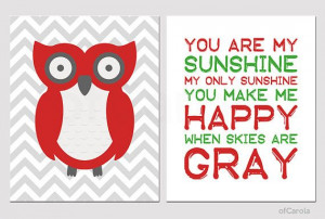 Chevron Owl Love You Are My Sunhine Quote Wall Art by ofCarola, $16.00