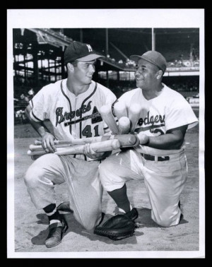Milwaukee Braves third baseman Eddie Mathews with Brooklyn Dodgers ...